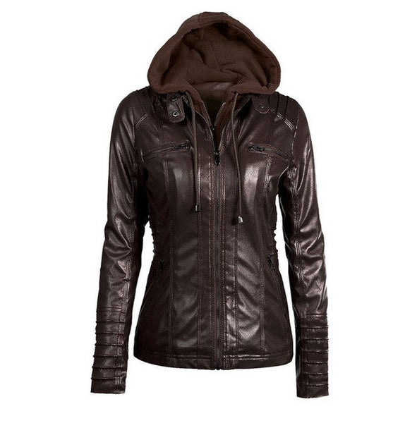 Faux Leather Moto Jacket w/ Hood