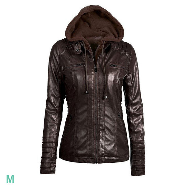 Faux Leather Hooded Moto Jacket - COFFEE / Brown