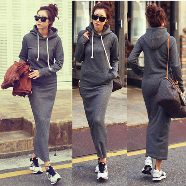 Fleece Winter Bodycon Maxi Hoodie Sweater Dress - Your Weekend Wardrobe