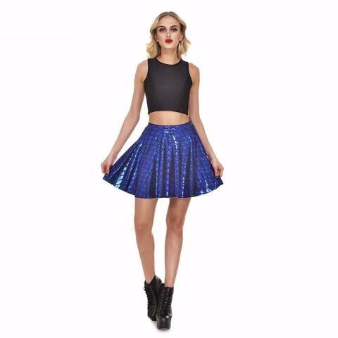 Blue Mermaid Print Skater Skirt