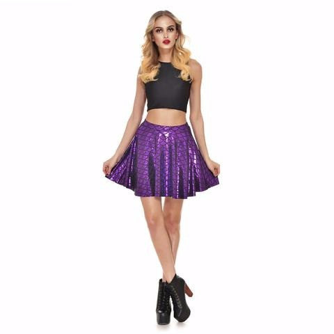 Lilac Mermaid Print Skater Skirt