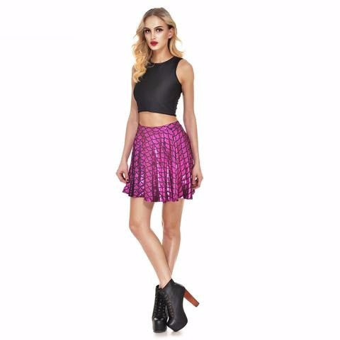 Magenta Mermaid Print Skater Skirt
