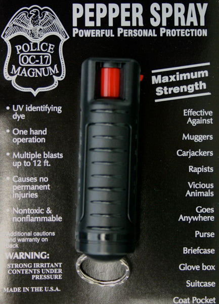 BLACK POLICE MAGNUM MACE PEPPER SPRAY .50oz - Your Weekend Wardrobe