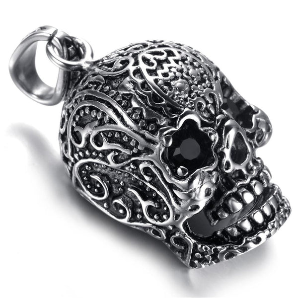 Mens Gothic Biker Stainless Steel Pendant Necklace