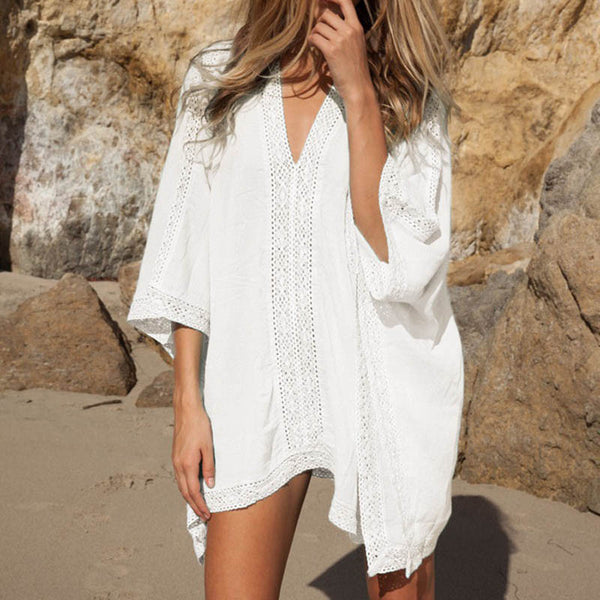 Swimsuit Cover-Up - Crochet, V-neck Tunic - Beach Dress