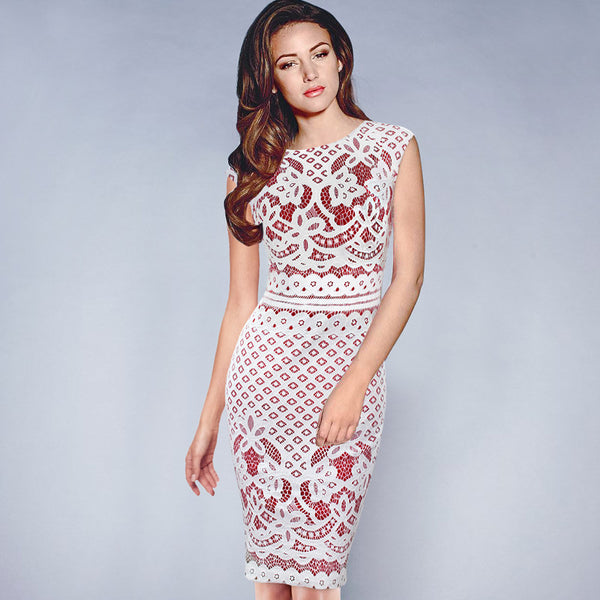 Vfemage Elegant Vintage Floral Crochet Bodycon Pencil Dress