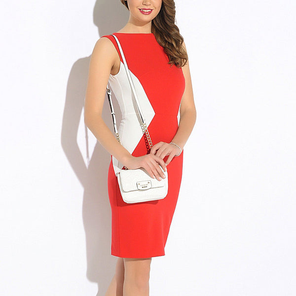 Elegant Colorblock Contrast Modest Pencil Dress