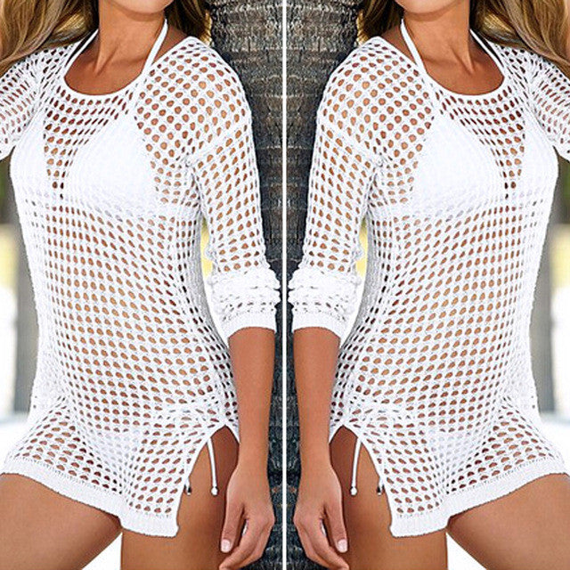 Mesh Knitted Crochet Swimsuit Cover Up - Beach Dress - Bikini Wrap