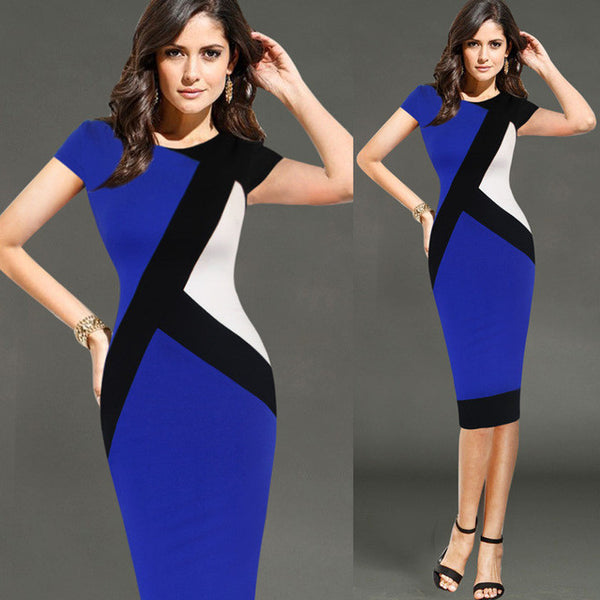 Vfemage Womens Elegant Colorblock Slim Pencil Dress