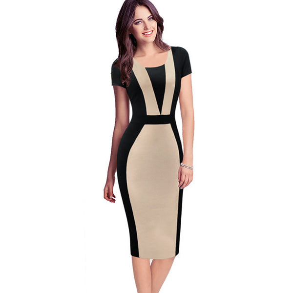 Summer Elegant Colorblock Modest Slim Sheath Pencil Dress