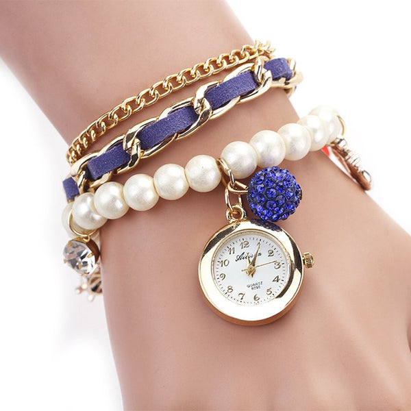 Casual Pearl And Anchor Bracelet Watch Set