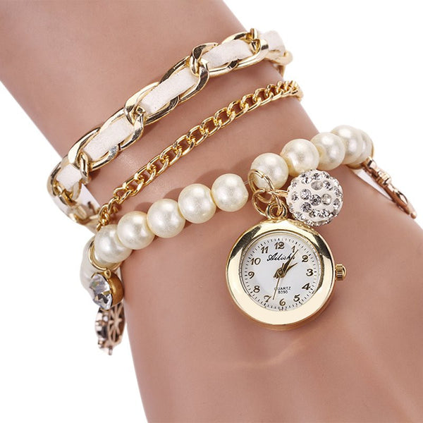 Casual Pearl And Anchor Bracelet Watch Set - Your Weekend Wardrobe