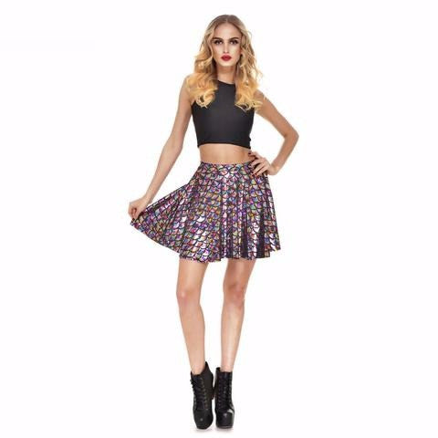Rainbow Mermaid Print Skater Skirt