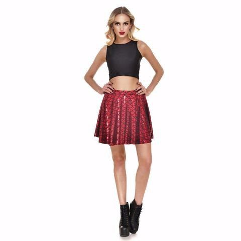 Red Mermaid Print Skater Skirt