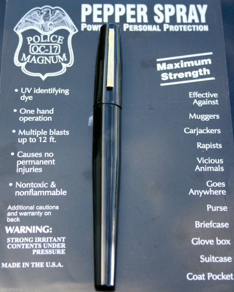 BLACK POLICE MAGNUM MACE PEPPER SPRAY .50oz PEN - Your Weekend Wardrobe