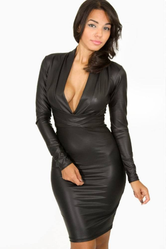 Black Plunging V-neck Long-sleeve Vegan Leather Dress - Your Weekend Wardrobe