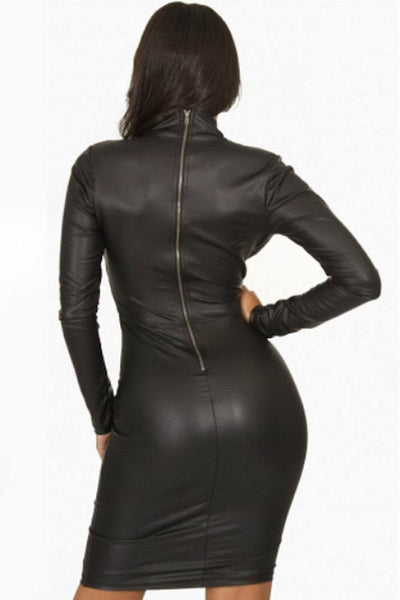 Black Plunging V-neck Long-sleeve Vegan Leather Dress