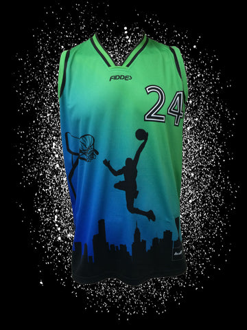 "Skyline Green/Blue Sublimated Jersey<br> <B><font color=""red"">OFF THE SHELF</font></B>"