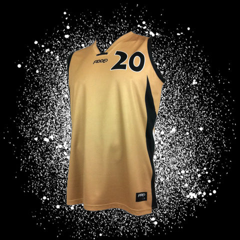 "Gold Sublimated Jersey<br/> <B><font color=""red"">OFF THE SHELF</font></B>"