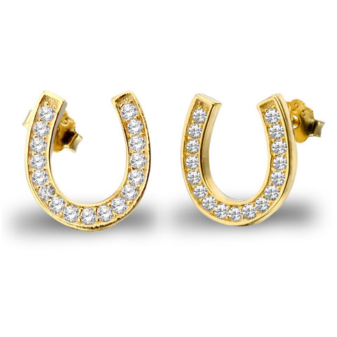 Elegant Sterling Silver & Gold Plated Horseshoe Earrings