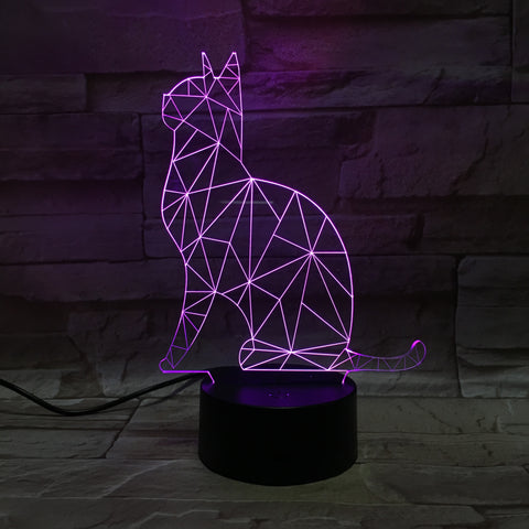Amazing 3D Illusion Sitting Cat Lamp