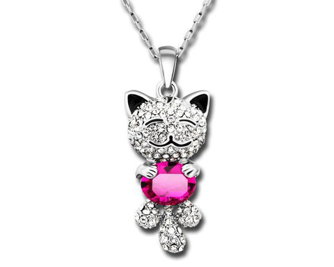 Breathtaking Gemstone Crystal Cat Pendant