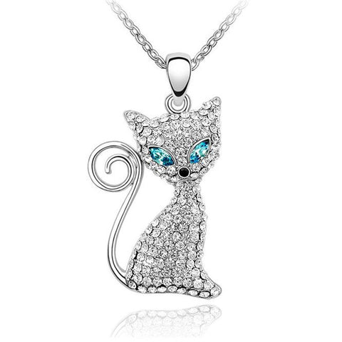 Adorable Austrian Crystal Cat Pendant