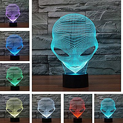 3D Illusion Alien Face Lamp