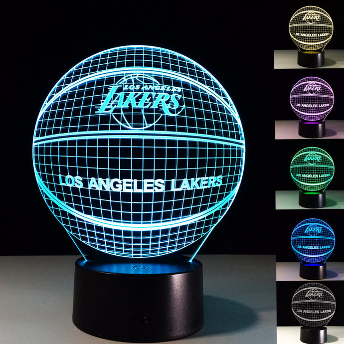 3D Illusion Los Angeles Lakers Basketball Lamp
