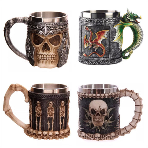 Double Wall Stainless Steel 3D Skull Mugs