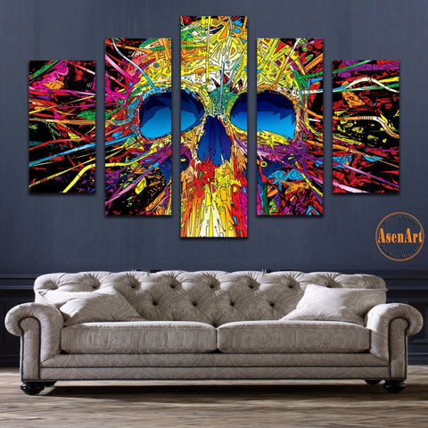 Colorful Abstract Skull Painting