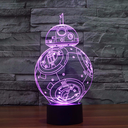 Amazing 3D BB-8 LED 7 Color Lamp