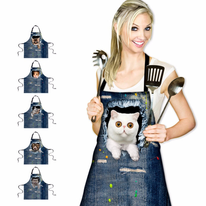 Cute 3D Denim Animal Apron
