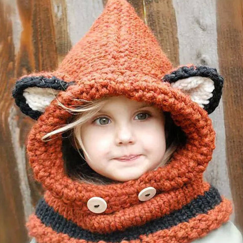 Adorable Hand-Knitted Children's Hood Scarf