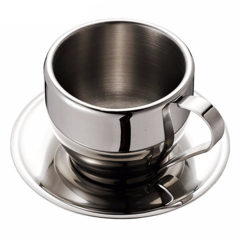 Double Wall Stainless Steel Coffee Cup & Saucer