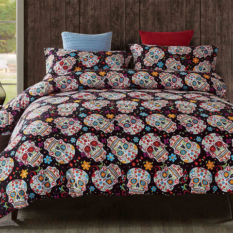 3 Piece Sugar Skull Bedding Set