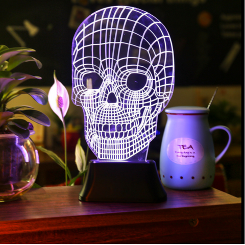 Awesome 3D Illusion Spooky Skull Lamp