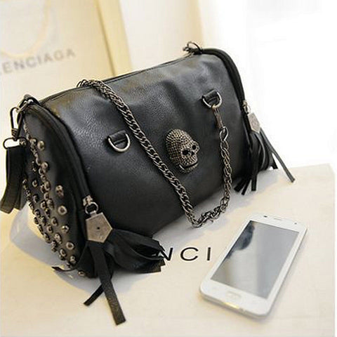Fashionable Leather Skull Handbag