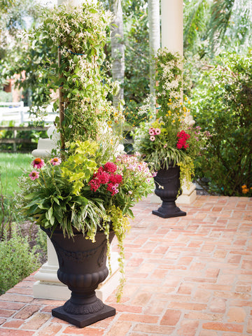 Large Urn Containers Such As Our Festonada Planter Add Elegance To Tropical  Patio Gardens.
