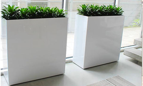 Custom Metal Indoor Tall Planter Boxes Powder Coated White
