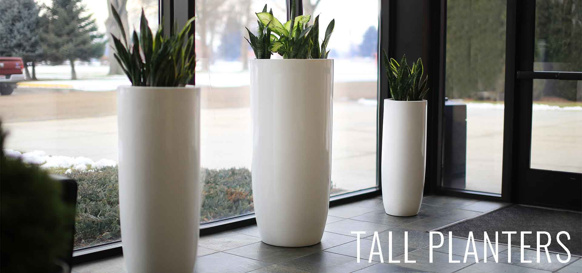 modern planter pots  boxes  stylish plant containers  wholesale  - tall white planters