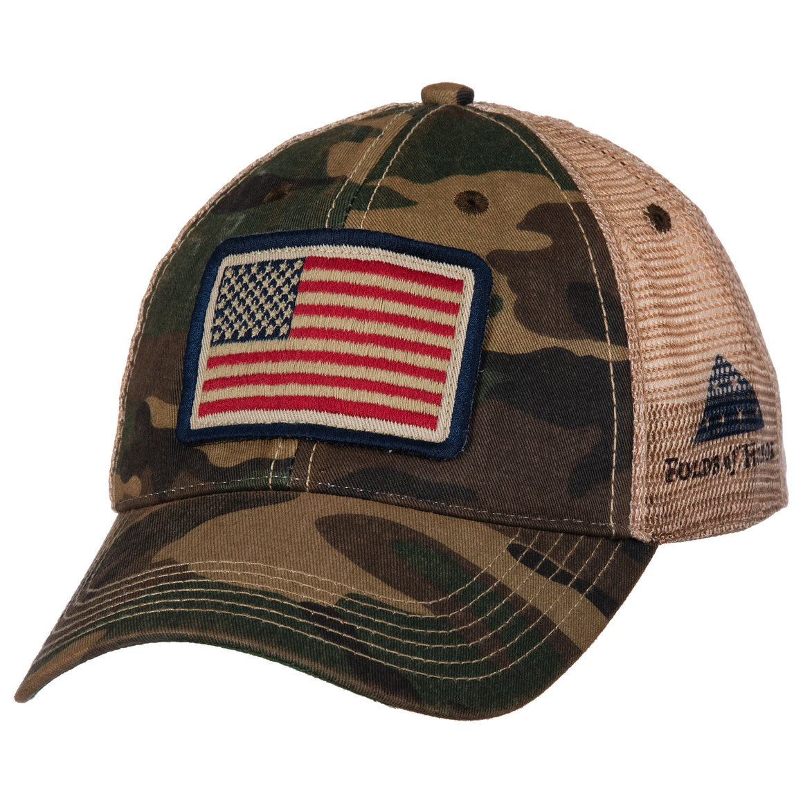 Army Camo Trucker Hat with American Flag