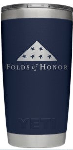 Yeti Navy Rambler 20 oz Tumbler with Folds of Honor Engraved Logo