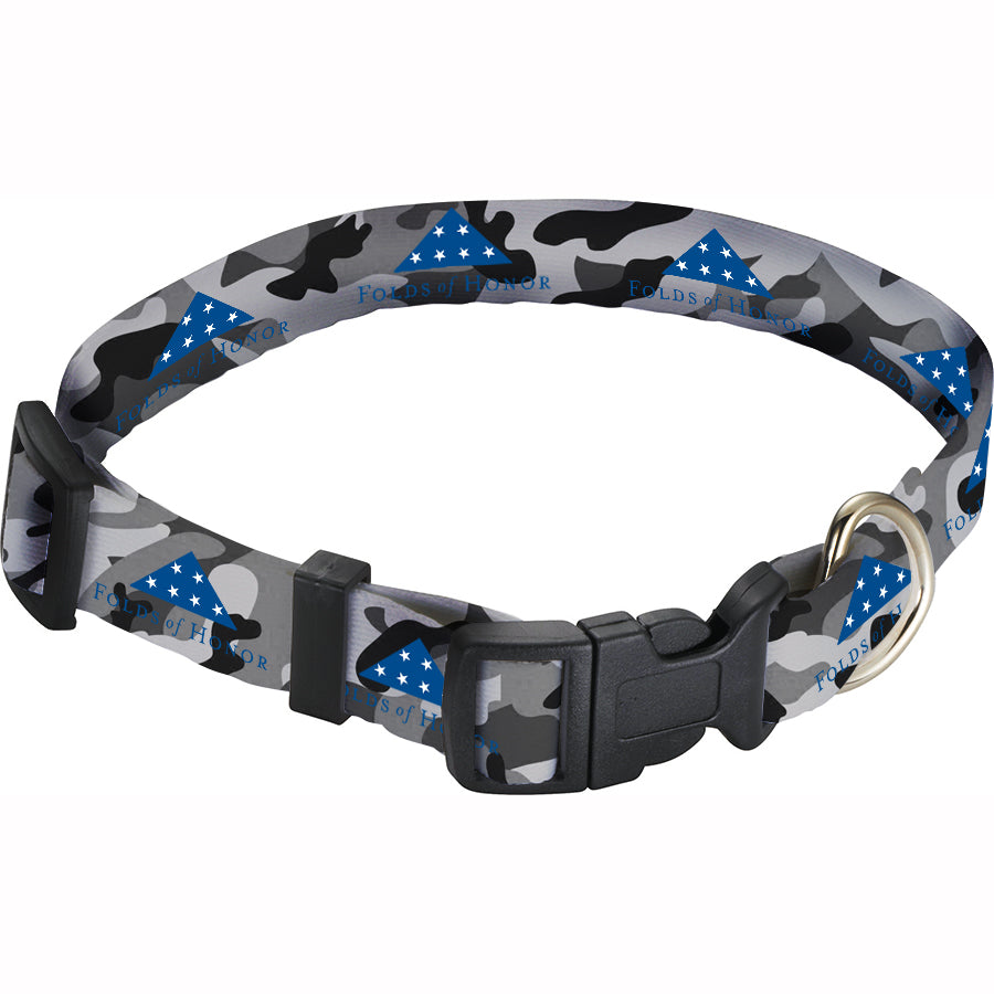 "Black Camo  1"" Wide Adjustable Pet Collar"