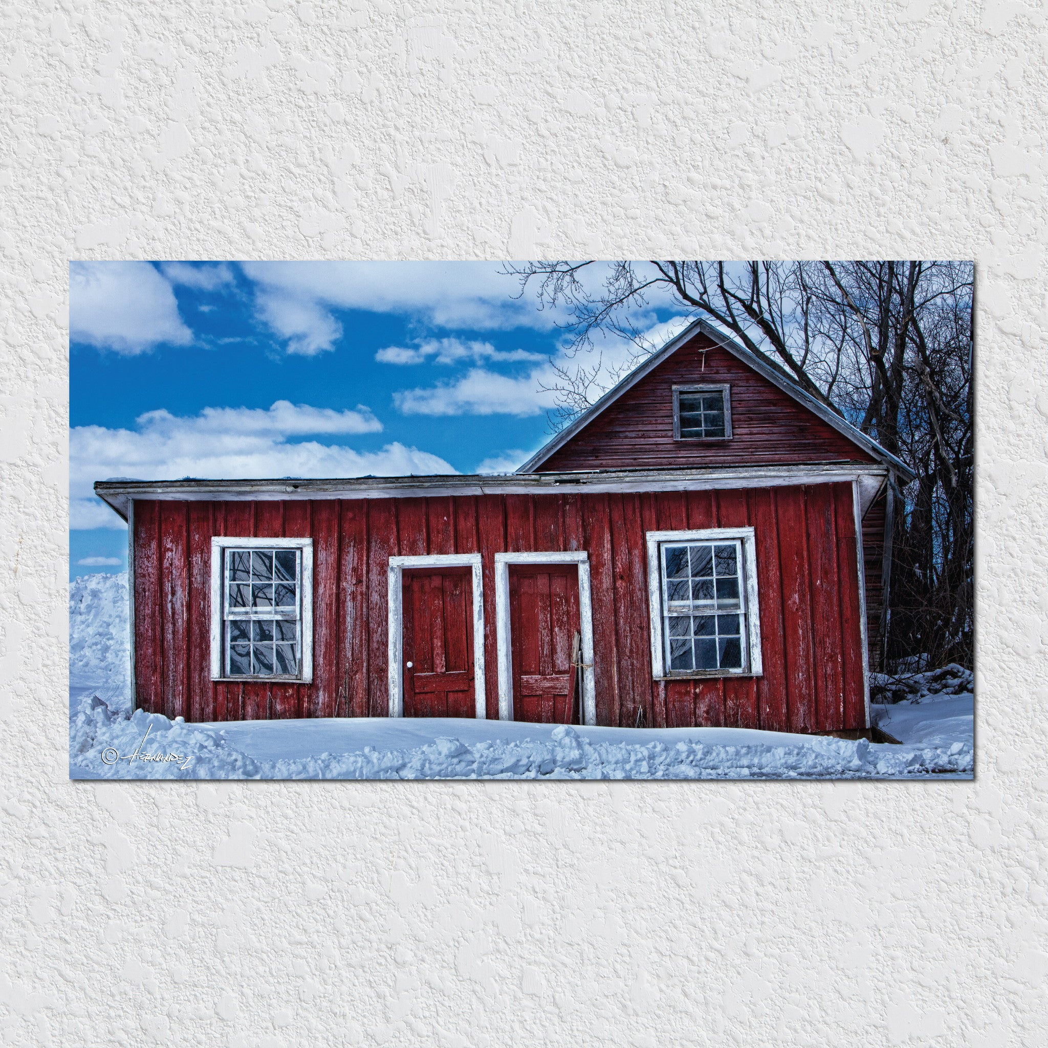 Red Shed In Snow by Peter Hernandez