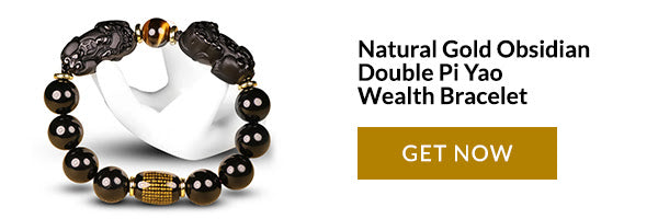 Natürliches Gold Obsidian Double Pi Yao Wealth Armband