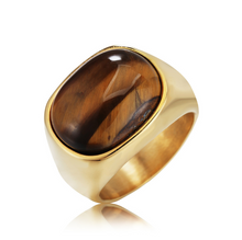 Load image into Gallery viewer, Natural Tiger Eye Protection Lucky Ring