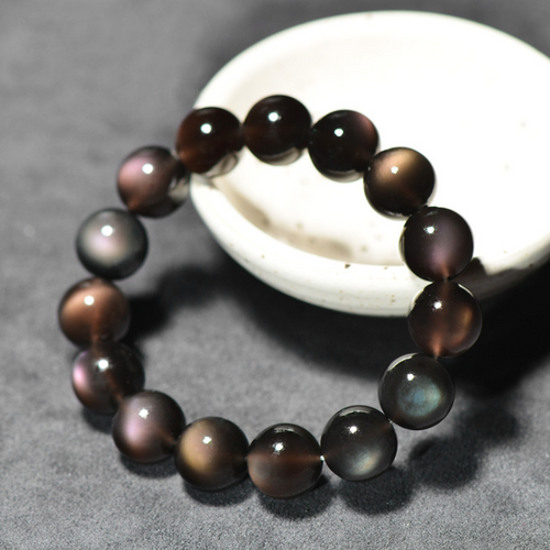 Natural Rainbow Obsidian Positivity Bracelet