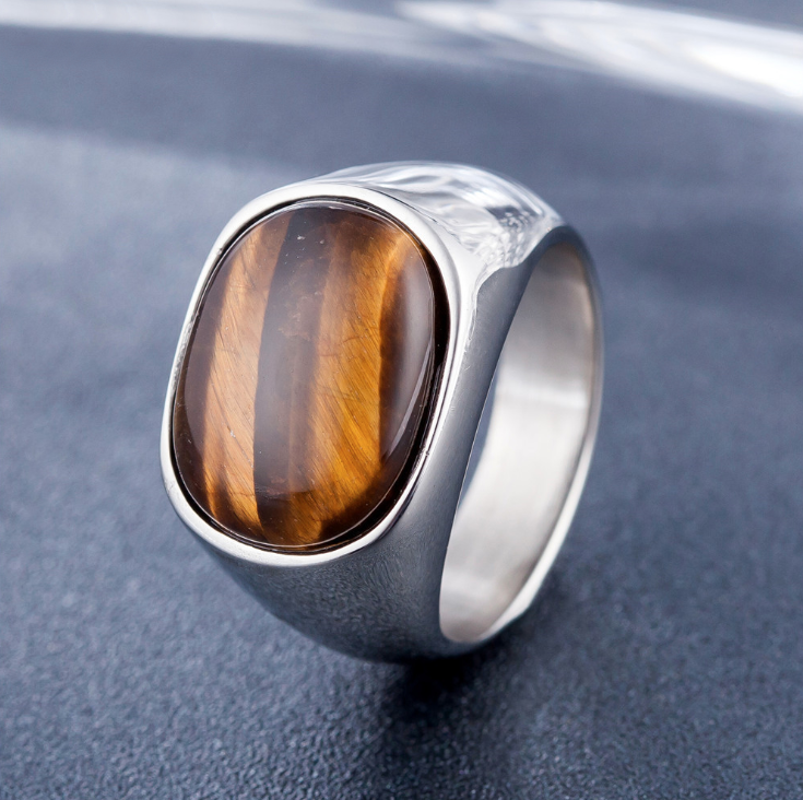 Natural Tiger Eye Protection Lucky Ring