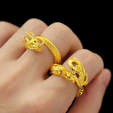Load image into Gallery viewer, Gold Dragon Phoenix Wealth & Protection Ring